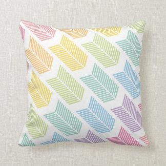 Pastel Rainbow Arrow Feather Chevron Pattern Throw Pillow
