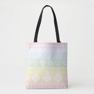 Pastel Rainbow Aztec Design Tote Bag
