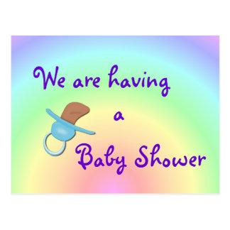 Pastel Rainbow Baby Boy Shower Postcard- customize Postcard
