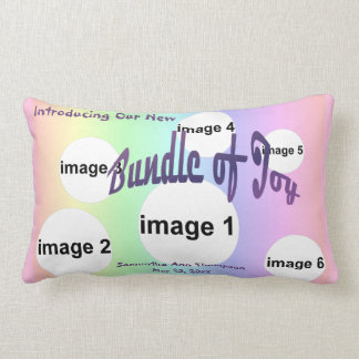 Pastel Rainbow Baby Girl Custom Photo Collage Lumbar Cushion