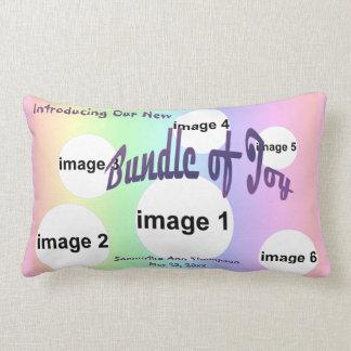 Pastel Rainbow Baby Girl Custom Photo Collage Lumbar Pillow