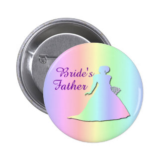 Pastel Rainbow Badge for the Father of a Gay Bride