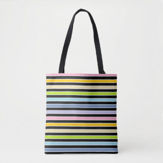 Pastel Rainbow, Black and White Stripes Tote Bag