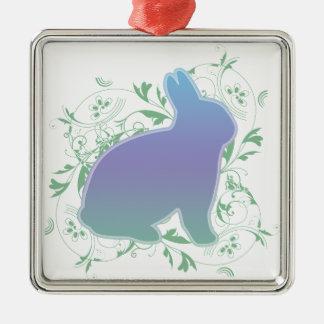 Pastel Rainbow Bunny & Swirls Silver-Colored Square Decoration