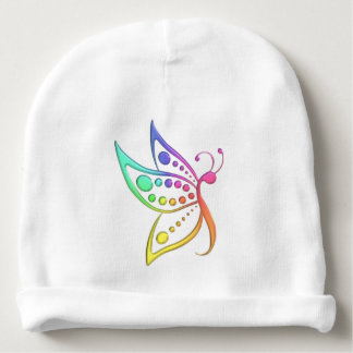 Pastel Rainbow Butterfly Dots Baby Beanie
