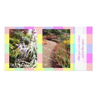 Pastel Rainbow Checkered 2 Photo Customised Photo Card