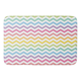 Pastel Rainbow Chevron Pattern Bath Mat