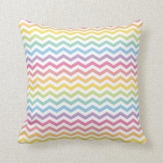 Pastel Rainbow Chevron Pattern Throw Pillow