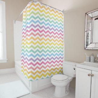 Pastel Rainbow Chevron Shower Curtain