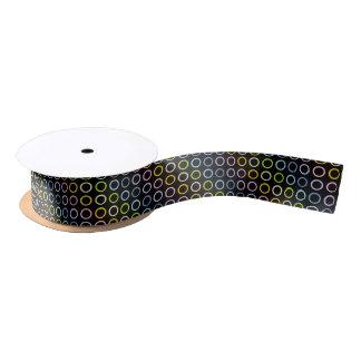Pastel Rainbow Circles Black Satin Ribbon
