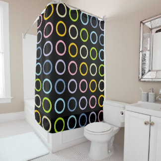 Pastel Rainbow Circles Black Shower Curtain