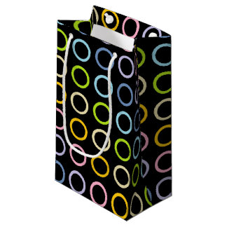 Pastel Rainbow Circles Black Small Gift Bag