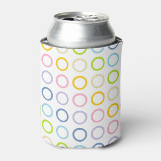 Pastel Rainbow Circles White Can Cooler