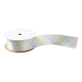 Pastel Rainbow Circles White Satin Ribbon