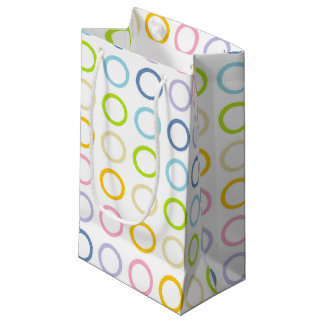 Pastel Rainbow Circles White Small Gift Bag