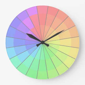Pastel Rainbow Color Wheel Artists Clock