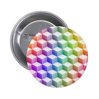 Pastel Rainbow Colored Shaded 3D Look Cubes 6 Cm Round Badge
