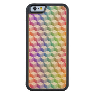 Pastel Rainbow Colored Shaded 3D Look Cubes Maple iPhone 6 Bumper Case