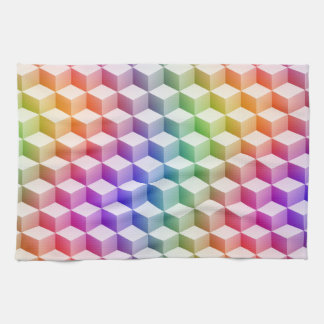 Pastel Rainbow Colored Shaded 3D Look Cubes Tea Towels