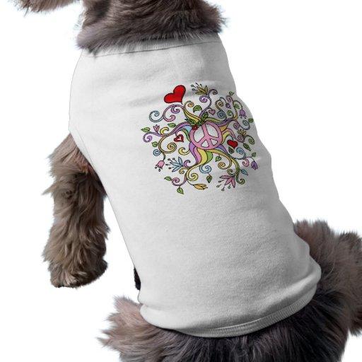 Pastel rainbow coloured peace doodle doggy t-shirt sleeveless dog shirt