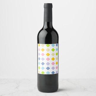 Pastel Rainbow Diamonds Wine Label
