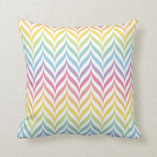 Pastel Rainbow Feather Chevron Pattern Cushion