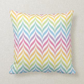 Pastel Rainbow Feather Chevron Pattern Throw Pillow
