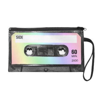 Pastel Rainbow Label Cassette Wristlet Purse