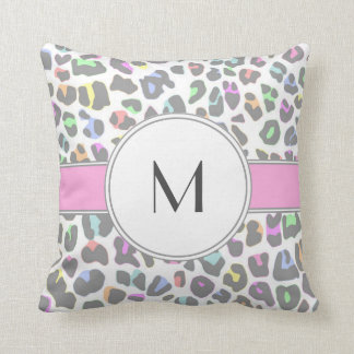 Pastel Rainbow Leopard Print Custom Monogram Cushion
