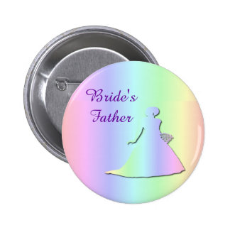 Pastel Rainbow Lesbian Bride's Father Badge