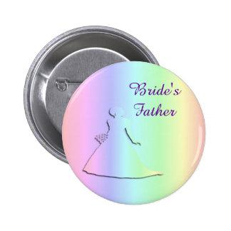 Pastel Rainbow Lesbian Bride's Father Badge