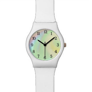 Pastel Rainbow of Color Black Numbers Watch