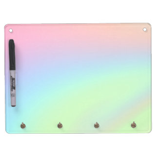 Pastel Rainbow of Color Dry Erase Board With Key Ring Holder