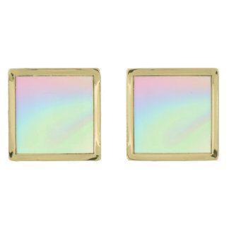 Pastel Rainbow of Color Gold Finish Cuff Links