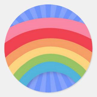 Pastel Rainbow on Blue Starburst Round Sticker