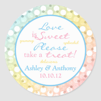 Pastel Rainbow Polka Dot Candy Buffet Stickers