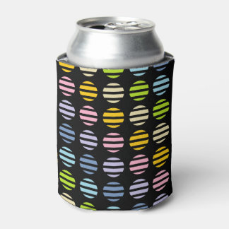 Pastel Rainbow Polka Dots and Stripes Black Can Cooler