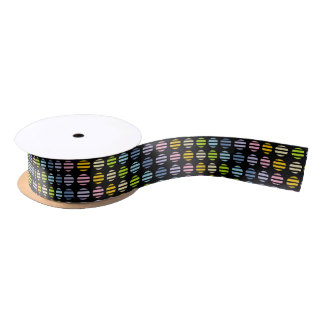 Pastel Rainbow Polka Dots and Stripes Black Satin Ribbon