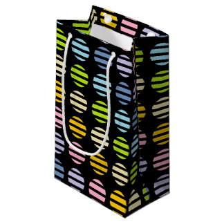 Pastel Rainbow Polka Dots and Stripes Black Small Gift Bag
