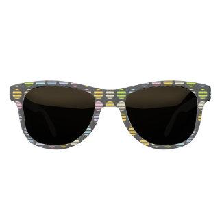 Pastel Rainbow Polka Dots and Stripes Black Sunglasses