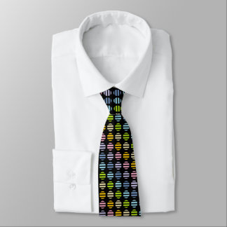 Pastel Rainbow Polka Dots and Stripes Black Tie