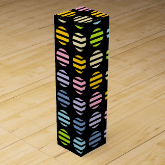 Pastel Rainbow Polka Dots and Stripes Black Wine Gift Box