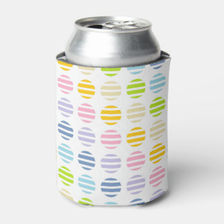 Pastel Rainbow Polka Dots and Stripes Can Cooler