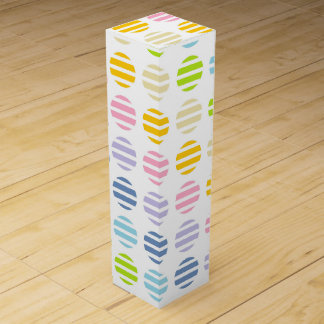 Pastel Rainbow Polka Dots and Stripes Wine Gift Box