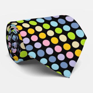 Pastel Rainbow Polka Dots Black Tie