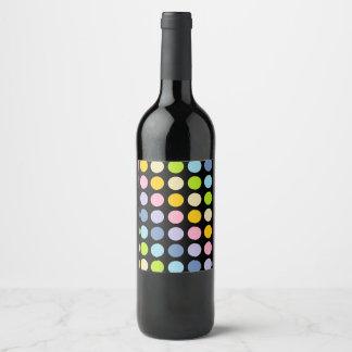 Pastel Rainbow Polka Dots Black Wine Label