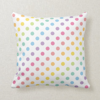 Pastel Rainbow Polka Dots Pattern Cushion