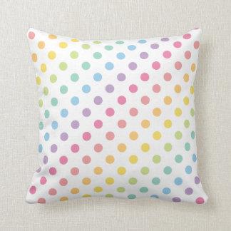Pastel Rainbow Polka Dots Pattern Throw Pillow