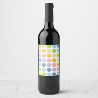 Pastel Rainbow Polka Dots Wine Label