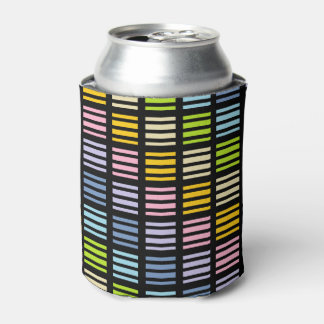 Pastel Rainbow Squares and Stripes Black Can Cooler